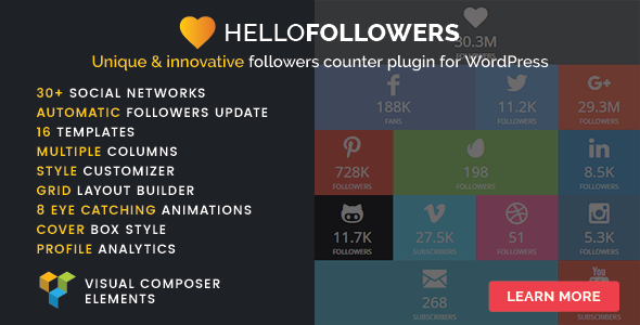 Hello Followers - Social Counter Plugin for WordPress - CodeCanyon Item for Sale