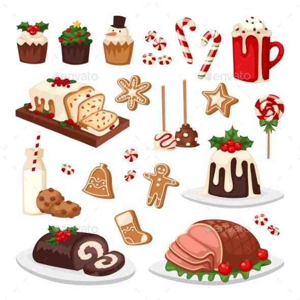 Christmas Food Vector Set. - Backgrounds Decorative