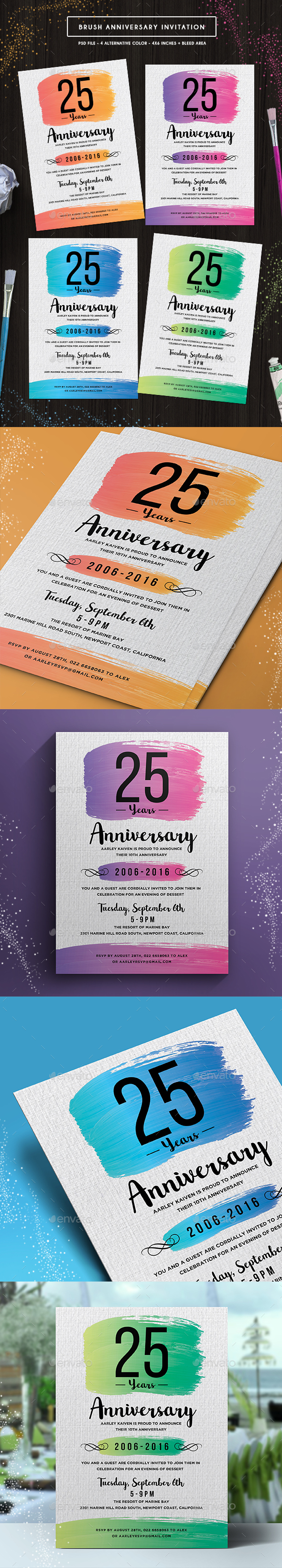 Brush Anniversary Invitation - Anniversary Greeting Cards