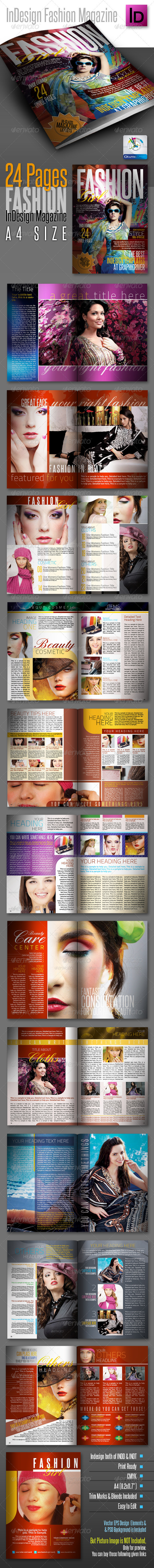 FashionGirl InDesign Modern Magazine 24pages - Magazines Print Templates