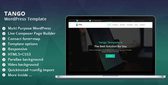 Tango Multi Purpose WordPress landing page