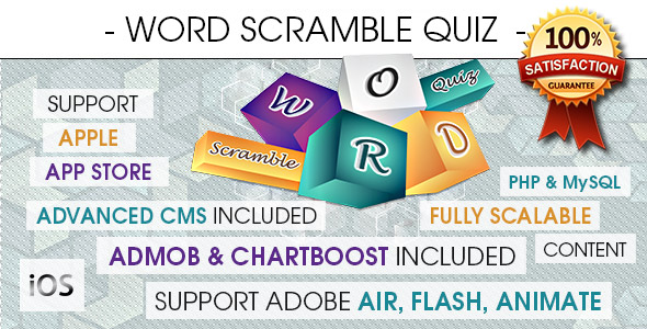 Word Scramble Quiz With CMS & Ads - iOS - CodeCanyon Item for Sale