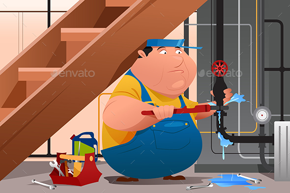 Plumber Fixing Leaky Water Pipe - Industries Business
