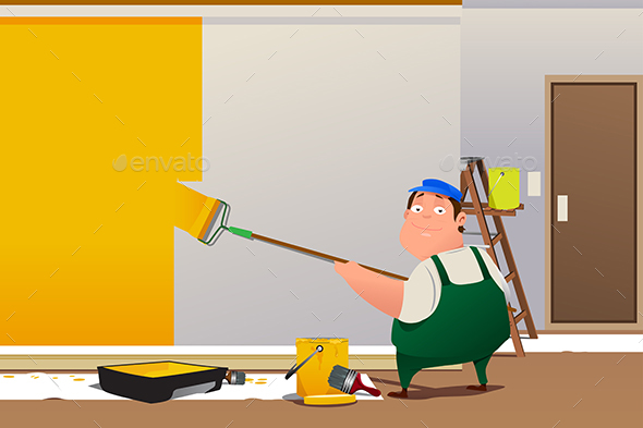Man Painting a Wall - Industries Business