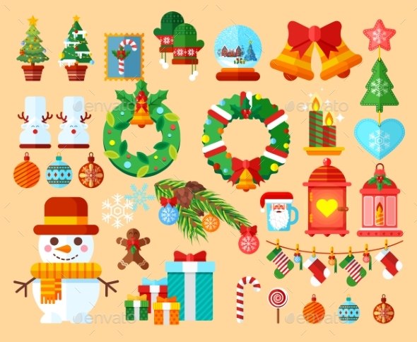 Set Christmas Accessories In a Flat Style - Christmas Seasons/Holidays