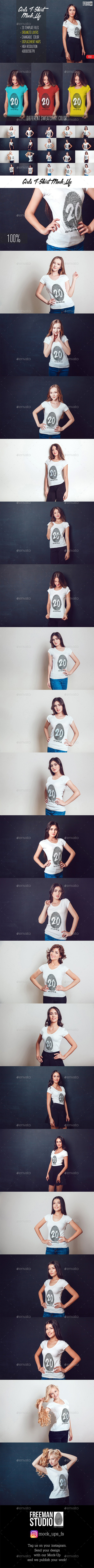 20 Top Girls T-Shirt Mock-Up - Product Mock-Ups Graphics