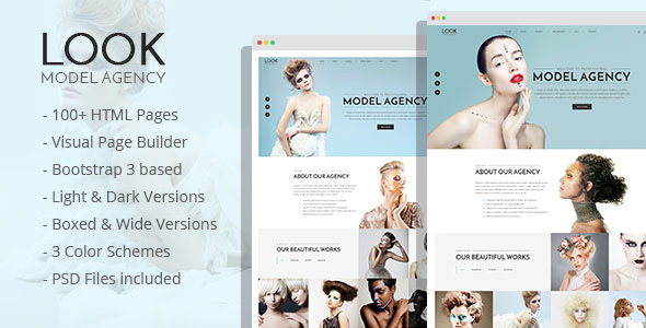 LOOK - Model Agency HTML Template with Visual Page Builder