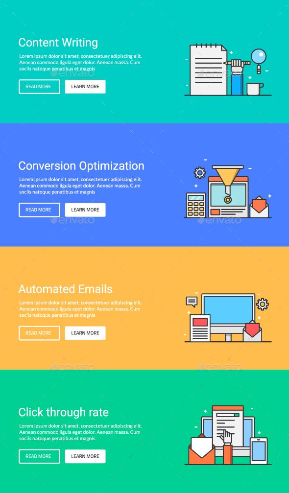 Digital Marketing Banners Set2 - Web Elements Vectors