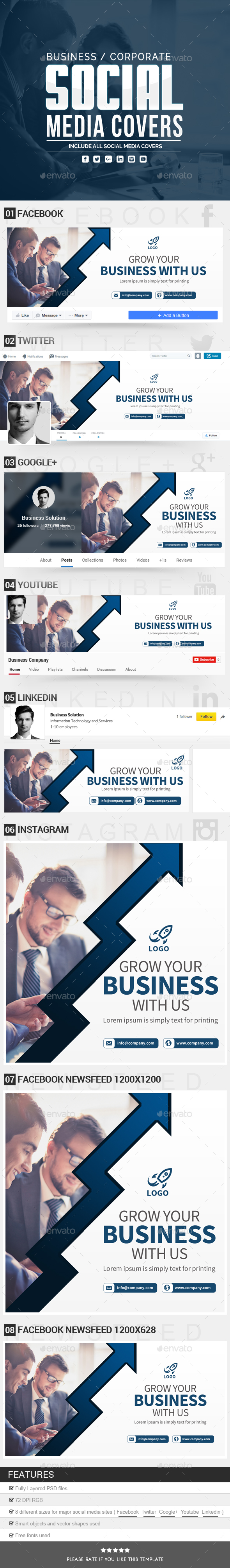 Business Social Media Covers - Social Media Web Elements