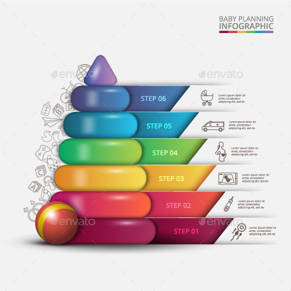 Vector children pyramid for infographic. - Infographics
