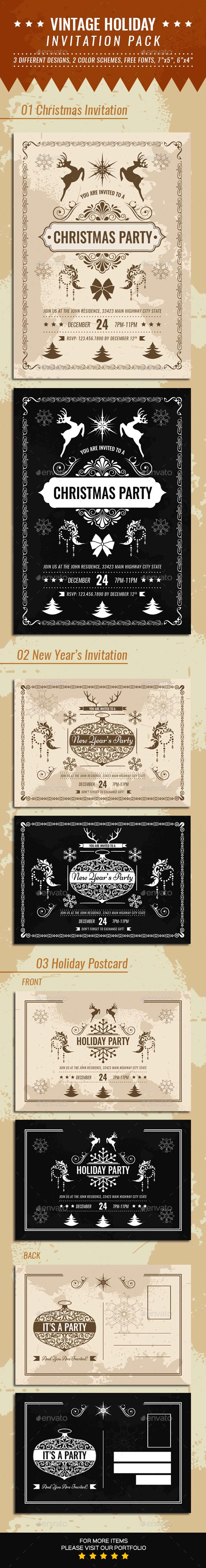 Vintage Holiday Invitation Pack - Invitations Cards & Invites