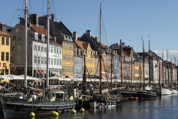 Nyhavn Canal in Copenhagen, Demark - Stock Photo - Images