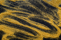 Sand painting. Golden glitter spread on black, abstract background.