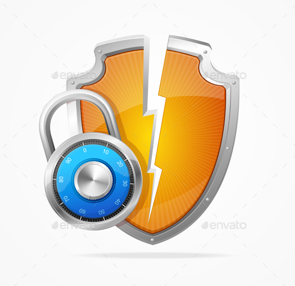Hacker Attack Shield and Lock. Vector - Web Technology