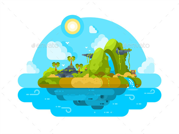 Uninhabited Island In Ocean - Miscellaneous Vectors