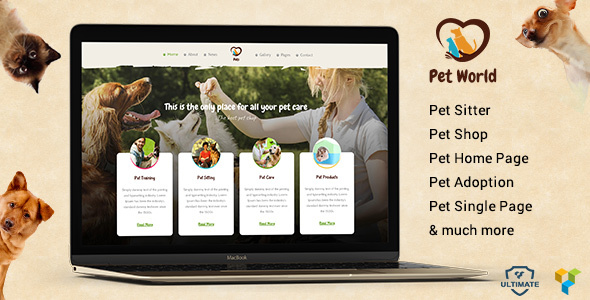 Pet World - Pet sitter and Pet Shop, Pet Services WordPress Theme