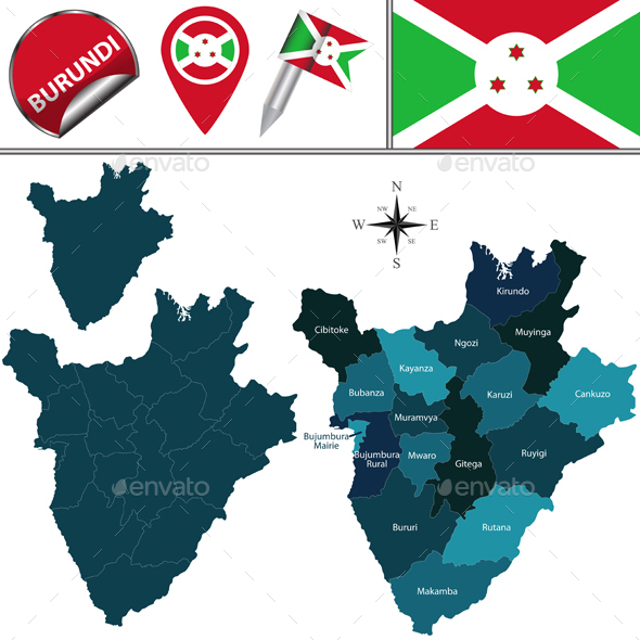 Map of Burundi with Named Provinces - Travel Conceptual