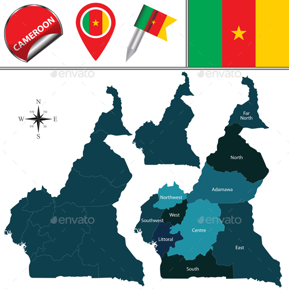 Map of Cameroon with Named Regions - Travel Conceptual