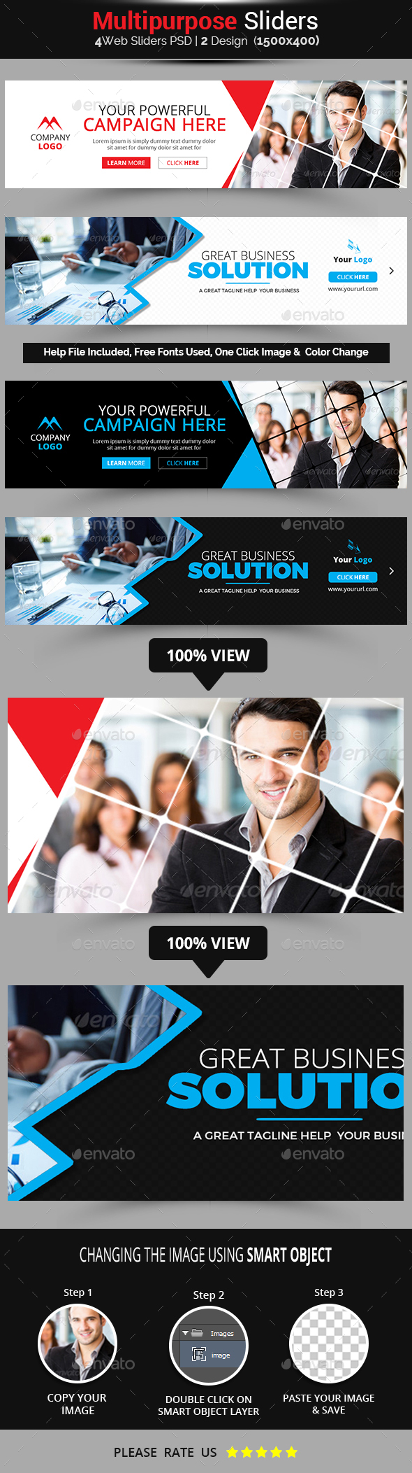 Multipurpose Business Sliders - Sliders & Features Web Elements