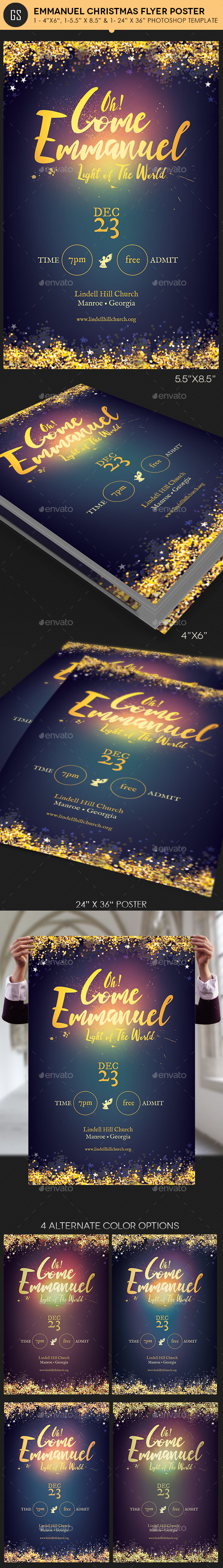 Emmanuel Christmas Cantata Flyer Poster Template - Church Flyers