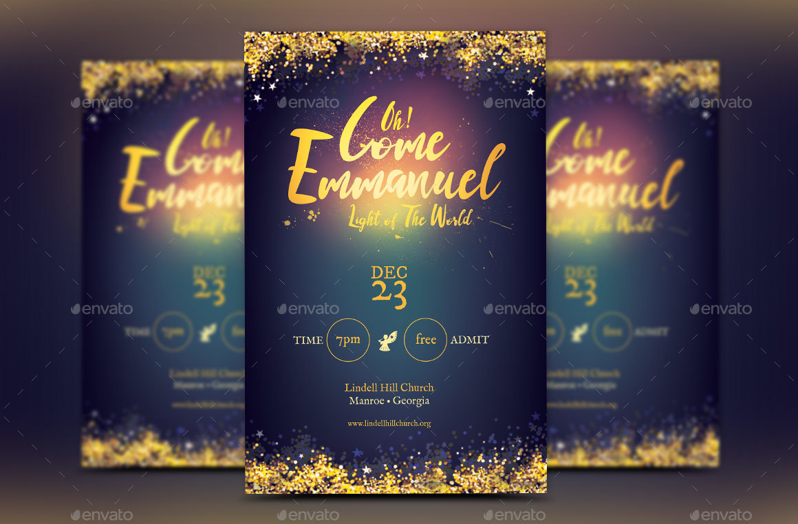 Emmanuel Christmas Cantata Flyer Poster Template by Godserv ...