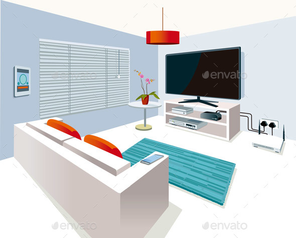 Modern Interior Living Room - Buildings Objects