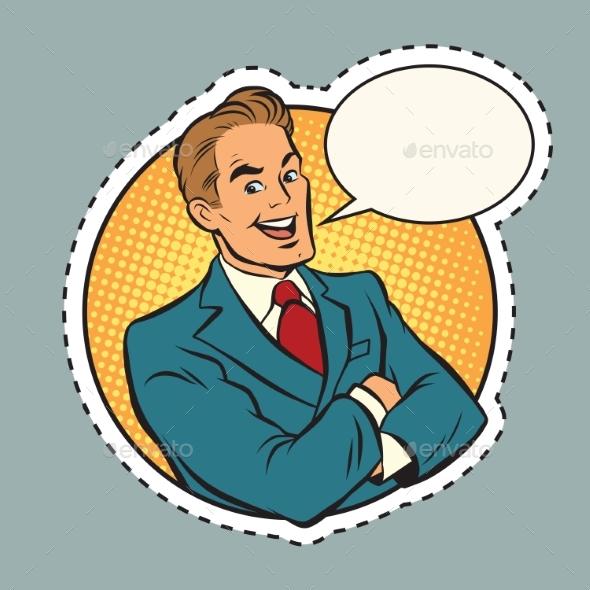 Joyful Retro Businessman Label Sticker Outline - People Characters