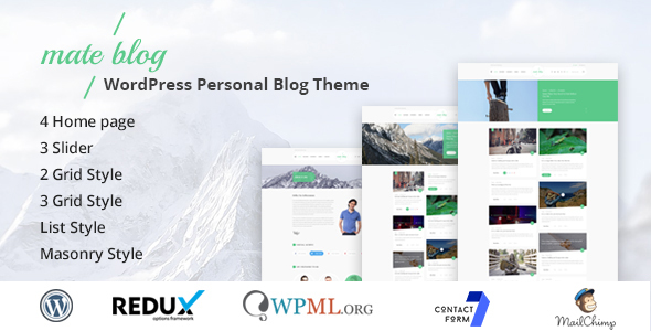 Mateblog - WordPress Personal Blog Theme - Blog / Magazine WordPress