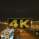 Aerial View Night City Moscow Traffic Jam And The Bridge Over The River - VideoHive Item for Sale