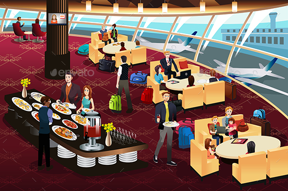 Airport Lounge Scene - People Characters