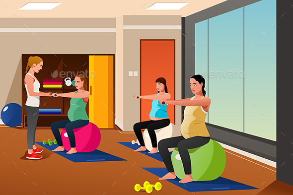 Pregnant Women with Exercise Balls - Sports/Activity Conceptual