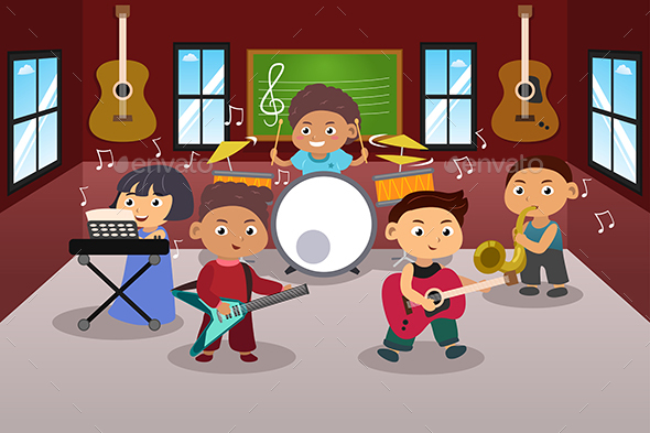 Kids Playing Music - People Characters