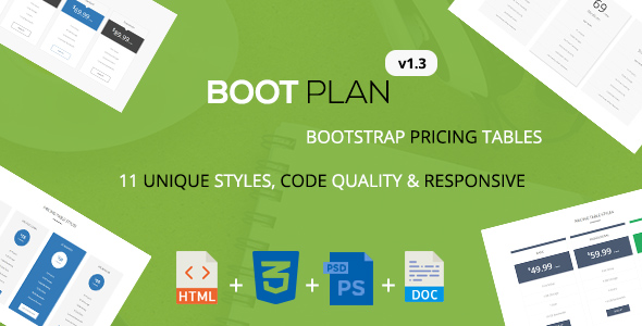 Bootplan - A Responsive Bootstrap Pricing Tables | v1.3 - CodeCanyon Item for Sale