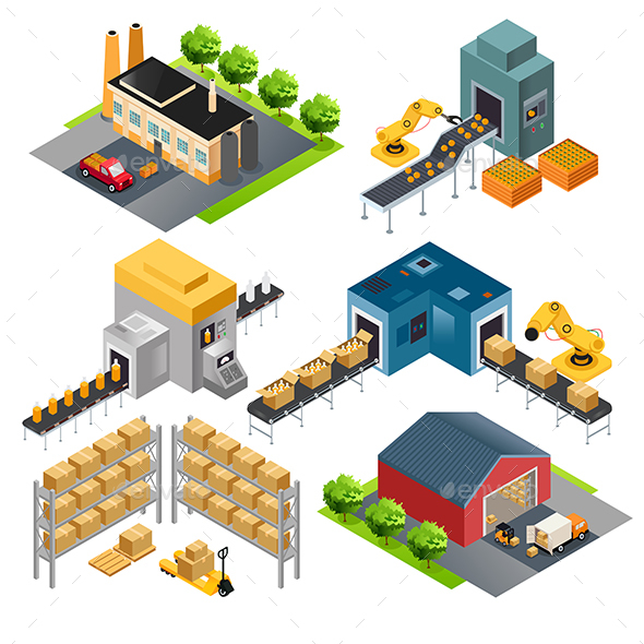 Isometric Industrial Factory Buildings - Industries Business