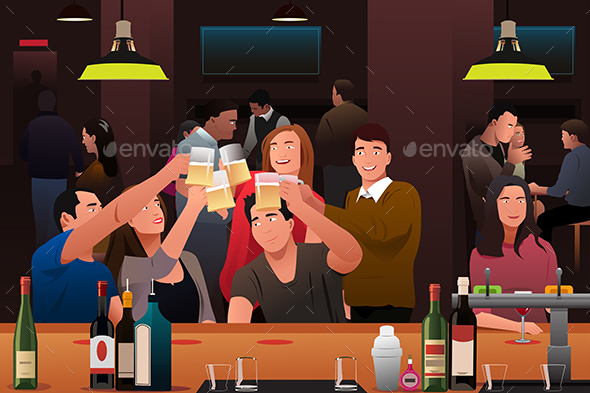 Young People in a Bar - People Characters