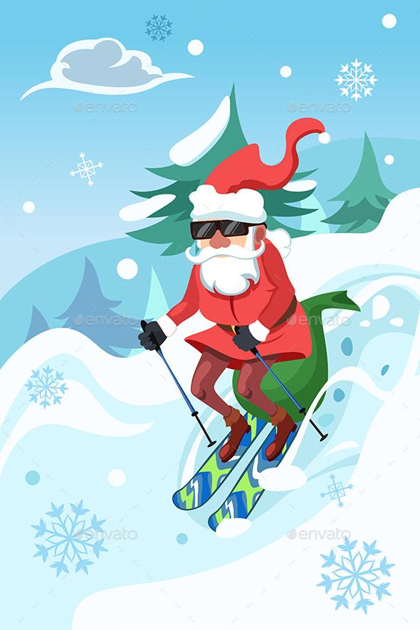 Santa Claus Riding a Snowboard - Christmas Seasons/Holidays