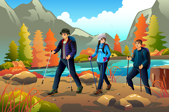 Young People Going Hiking Outdoors - People Characters