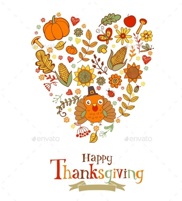 Thanksgiving Greeting Card - Decorative Symbols Decorative