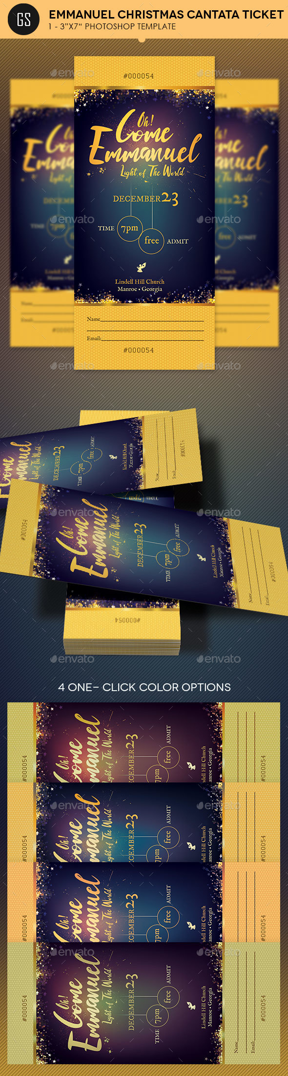Emmanuel Christmas Cantata Ticket Template - Miscellaneous Print Templates