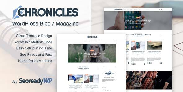 Chronicles - Clean and Elegant WordPress Blog / Magazine - Easy to setup and SEO ready.