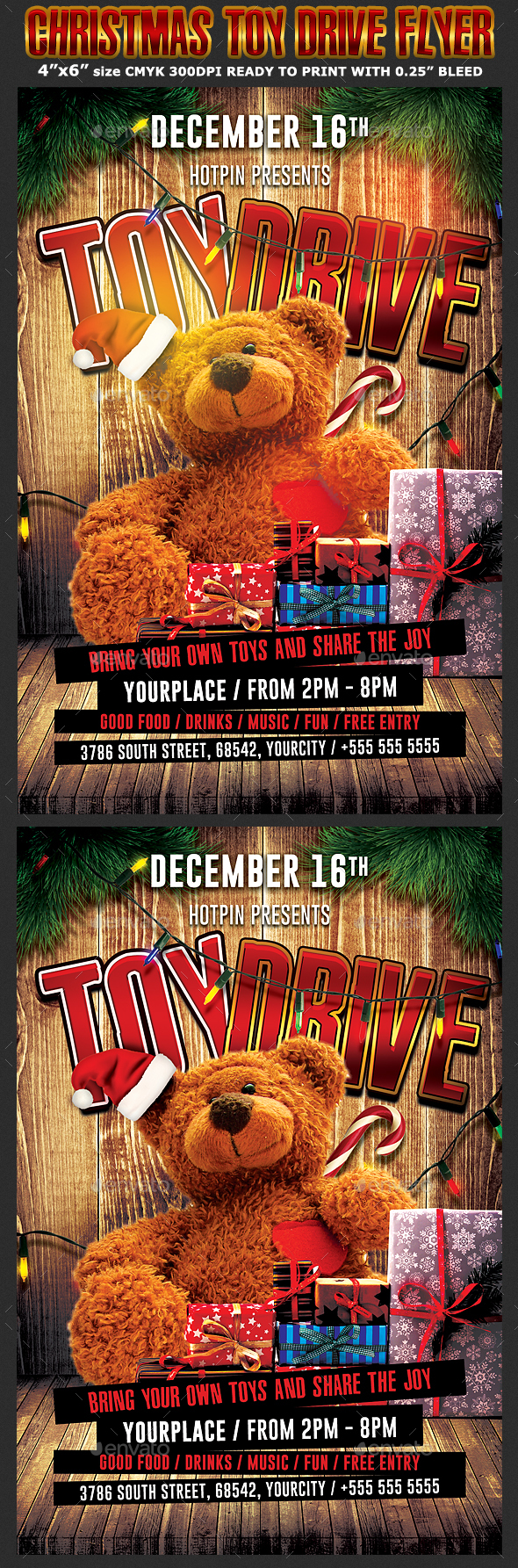Christmas Toy Drive Flyer Template - Holidays Events