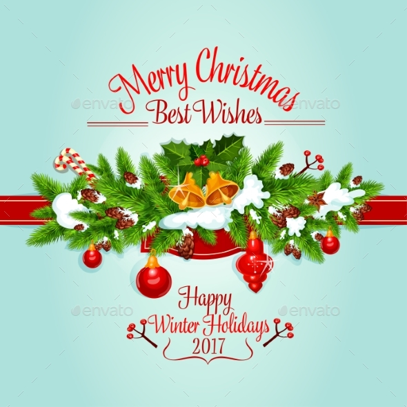 Christmas Tree Garland Holiday Poster Design - Christmas Seasons/Holidays