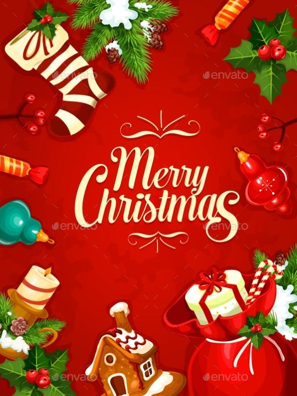 Christmas Gift and Ornaments Greeting Card Design - Christmas Seasons/Holidays