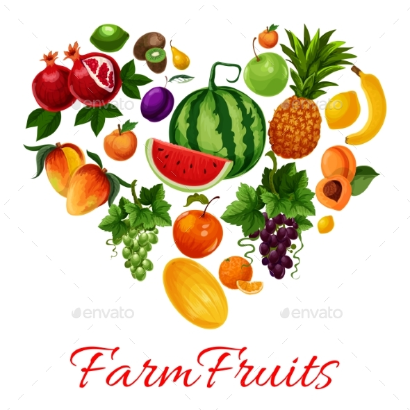 Farm Fruits Icons in Heart Shape - Food Objects