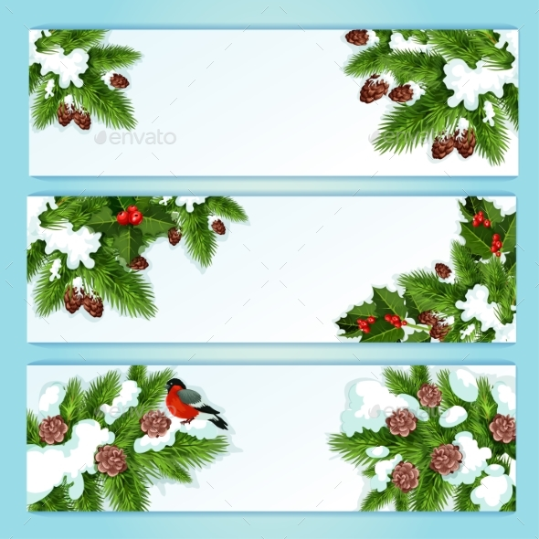 Christmas Banner with Holly Berry and Fir Branches - Christmas Seasons/Holidays