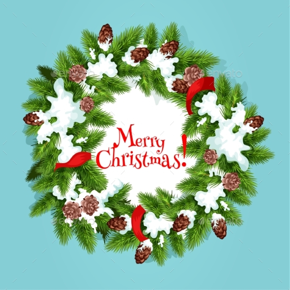 Christmas Wreath with Ribbon Greeting Card Design - Christmas Seasons/Holidays