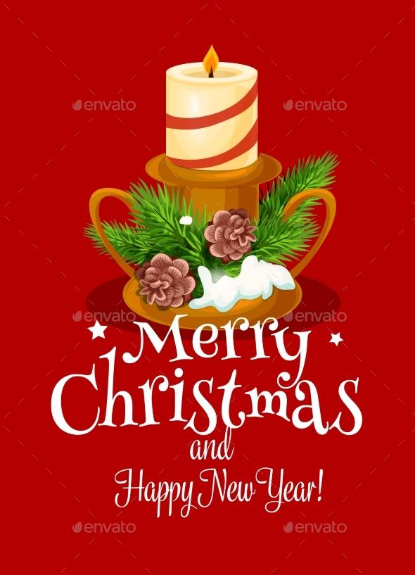 Christmas Holiday Card with Xmas Candle and Pine - Christmas Seasons/Holidays