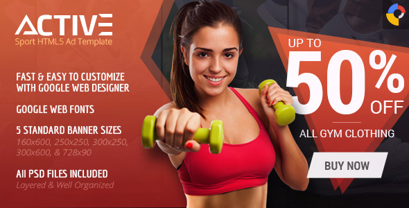 Active - Sport HTML5 Ad Template - CodeCanyon Item for Sale