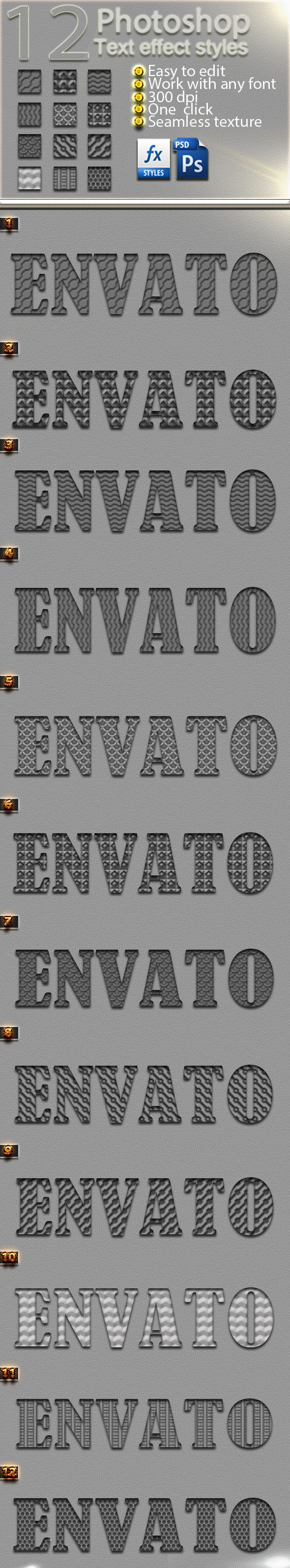 12 Photoshop Carbon Text Effect Styles Vol 31 - Text Effects Styles