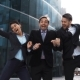Businesspeople Exult, Laughing Jump With Happiness - VideoHive Item for Sale